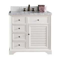 "36"" Savannah Single Sink Vanity w/ Granite Top - Cottage White"