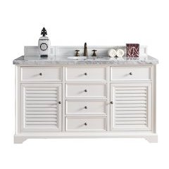 "60"" Savannah Single Sink Vanity w/ Granite Top - Cottage White"