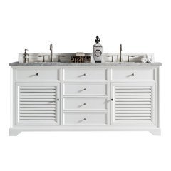 "72"" Savannah Double Sink Vanity w/ Marble Top - Cottage White"