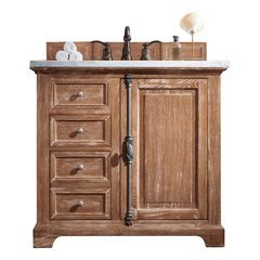 "36"" Providence Single Sink Vanity w/ Marble Top - Driftwood"