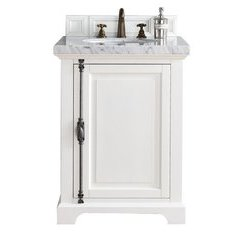 "26"" Providence Single Sink Vanity w/ Marble Top - Cottage White"