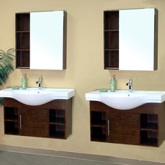"81"" Matching Single Wall Mount Vanity - Medium Walnut/White"