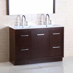 "48"" Double Sink Bathroom Vanity - Wenge/White Top"