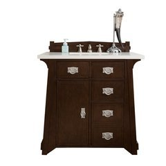 "36"" Pasadena Single Sink Vanity w/ Granite Top - Burnished Mahogany"