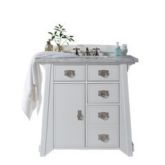 "36"" Pasadena Single Sink Vanity w/ Marble Top - Bright White"