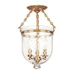 Hampton 3 Light Semi Flush - Aged Brass