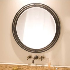 "31"" Asana Round Wall Mount Mirror - Black Wrought Iron"