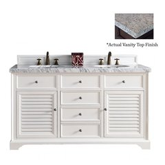 "60"" Savannah Double Vanity w/Santa Cecilia Top-Cottage White"