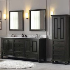 "73"" Thompson Double Vanity - Charcoal Glaze w/ White Top"