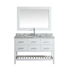 "54"" London Single Vanity w/ White Carrera Top - Gray"