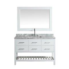 "54"" London Single Vanity w/ White Carrera Top - Gray <small>(#DEC077H-W-WT)</small>"
