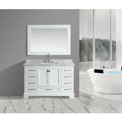 "54"" Omega Single Sink Bathroom Vanity Set-White"