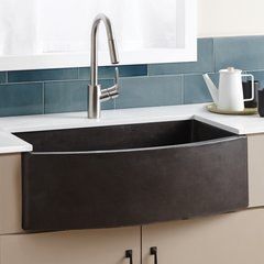 "33"" x 21"" Farmhouse Quartet Kitchen Reversible Sink - Slate"