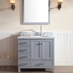 "37"" Cambridge Single Sink Vantity w/ Right Sink - Gray"