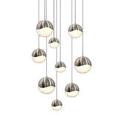 Grapes 9-Light Round Assorted LED Pendant - Satin Nickel