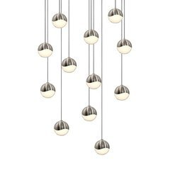 Grapes 12-Light Round Small LED Pendant - Satin Nickel