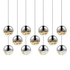 Grapes 11-Light Rectangle Large LED Pendant - Polished Chrome