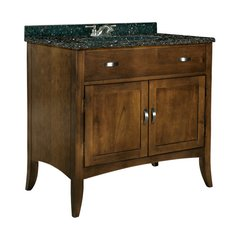 "36"" Metro Single Sink Vanity w/ Black Top - Brown Cherry"