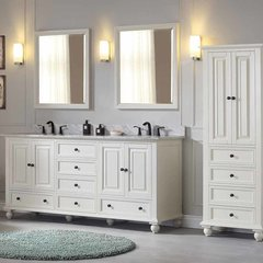 "73"" Thompson Double Vanity - French White w/ White Top"