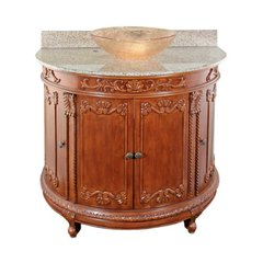 "36"" Semi-Circle Vessel Sink Bathroom Vanity - Oak/Beige Top"