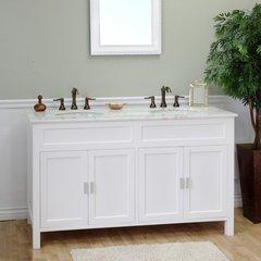 """60"""" Double Sink Bathroom Vanity - White/White Top"""