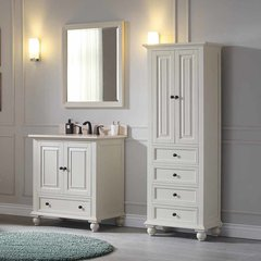 "31"" Thompson Single Vanity - French White w/ Beige Top"
