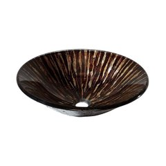 "17-45/64"" Diameter Round Vessel Bathroom Sink - Golden Ebony"