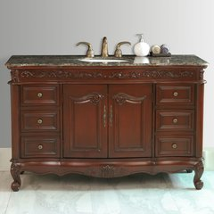 "56"" Princeton Single Vanity - Dark Cherry/Baltic Brown Top"