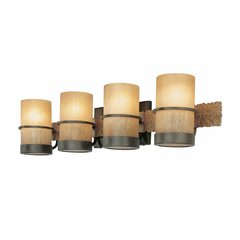 Bamboo 4 Light Bathroom Vanity Light - BambooBronze/Slate