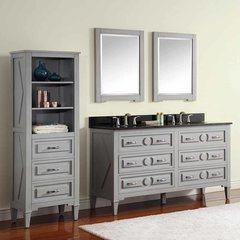 "61"" Kelly Double Vanity - Grayish Blue w/ Black Top"