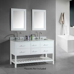 "61"" London Double Sink Bathroom Vanity - White"