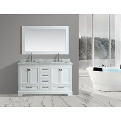"61"" Omega Double Sink Bathroom Vanity Set-White"