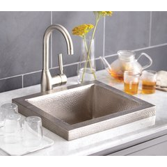 "17"" x 15"" Mahattan Raised Profile Drop-In Sink- Brush Nickel"