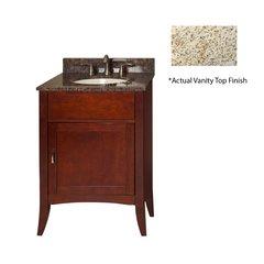 """24"""" Metro Single Sink Vanity w/ Gold Top - Brown Cherry"""
