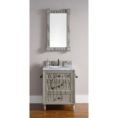 "36"" Hand-Painted Series Single Sink Vanity w/ Marble Top - Driftwood Patina"