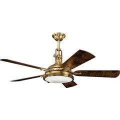 56 Inch Hatteras Bay 40W Ceiling Fan - Antique Brass and Poplar Burl/Elm Burl