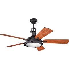 56 Inch Hatteras Bay 40W Ceiling Fan - Distressed Black and Walnut/Cherry
