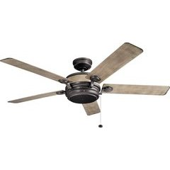 60 Inch Uma Ceiling Fan - Anvil Iron and Distresed Antique Gray