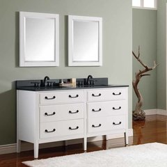 "61"" Delano Double Vanity - White w/ Black Top"