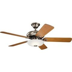 52 Inch Bentzen Ceiling Fan LED - Antique Pewter and Weather White Walnut/Cherry