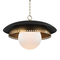 Herkimer 1 Light Pendant - Aged Brass