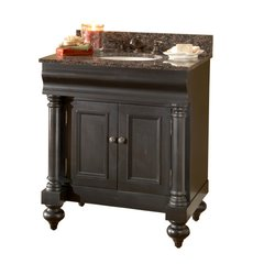 "36"" Guild Hall Single Vanity w/ Brown Top - Distressed Black"