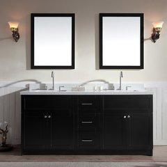 """73"""" Hamlet Double Sink Vanity w/ White Quartz Top - Black"""