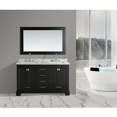 "61"" Omega Double Sink Bathroom Vanity Set-Espresso"