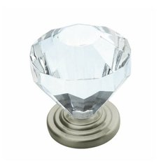 Traditional Classics 1-1/4 Inch Diameter Crystal/Satin Nickel Cabinet Knob