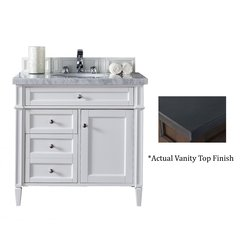 "36"" Brittany Vanity w/Black Rustic Top - Cottage White"