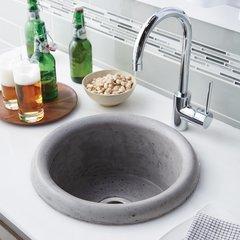"16"" Round Pozo NativeStone Drop In Bar Sink - Ash"