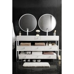 "59"" Bel Air Double Sink Vanity w/ Bright White Solid Surface Top - Polished Chrome"