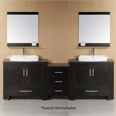 "96"" Washington Double Vessel Sink Bathroom Vanity - Espresso"