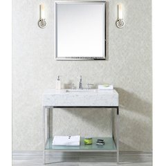 "36"" Brightwater Single Sink Vanity w/ Quartz Top - Steel"